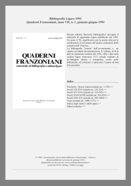 Guarda la Bibliografia Ligure 1992 on line