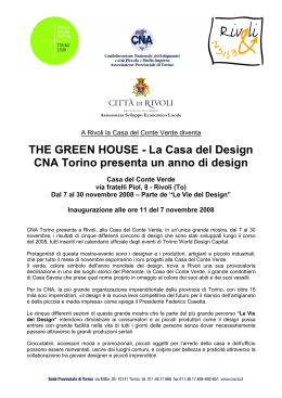 THE GREEN HOUSE - La Casa del Design CNA Torino presenta un