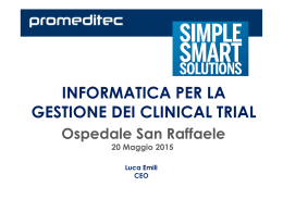 INFORMATICA PER LA GESTIONE DEI CLINICAL TRIAL