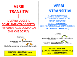 VERBI TRANSITIVI VERBI INTRANSITIVI