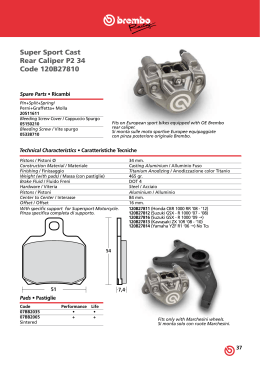 Catalogo Brembo Racing Pinze Posteriori