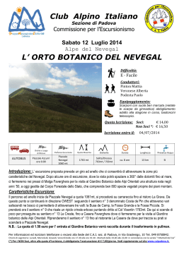 Club Alpino Italiano L` ORTO BOTANICO DEL NEVEGAL
