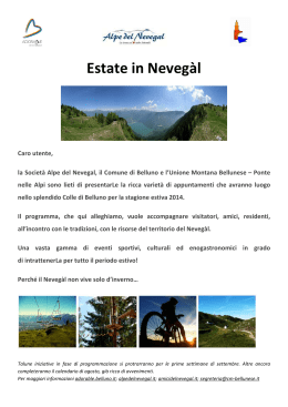Calendario Eventi Nevegal 2014