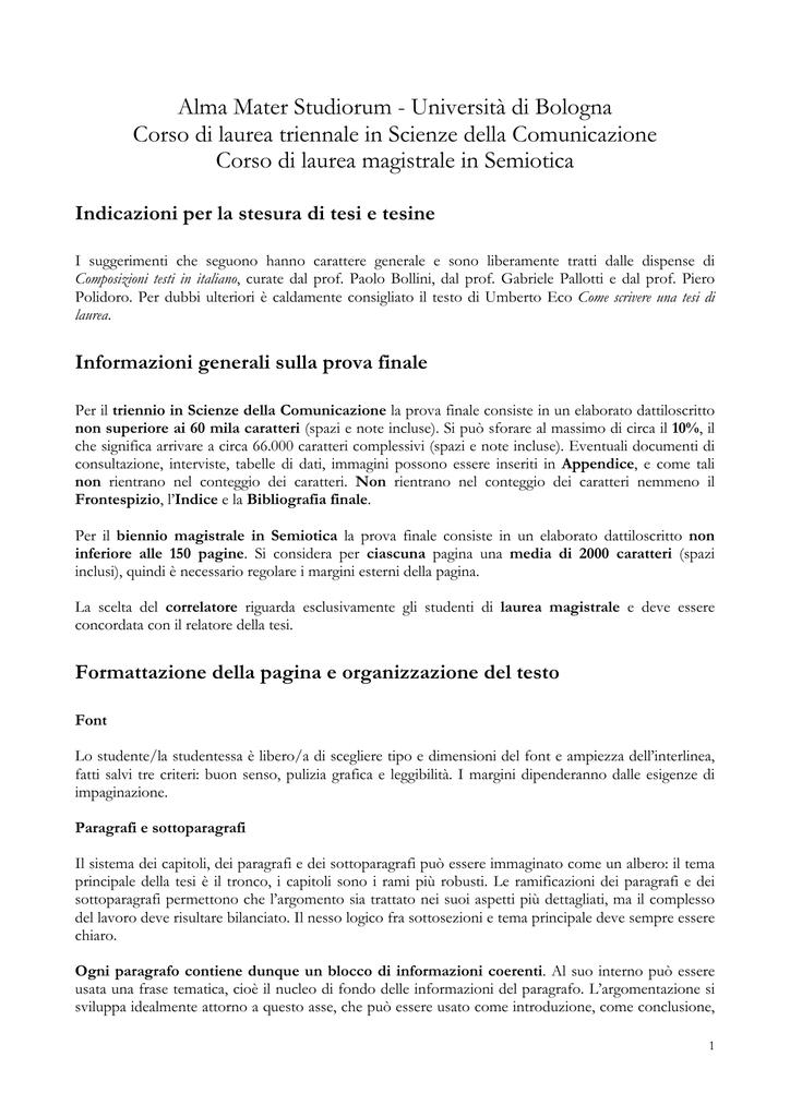 Indicazioni Per La Redazione Della Tesi Di Laurea