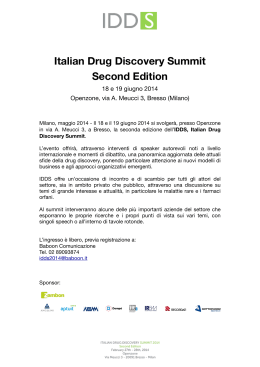 Italian Drug Discovery Summit Second Edition