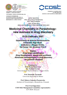 Medicinal Chemistry in Parasitology: new avenues in drug discovery