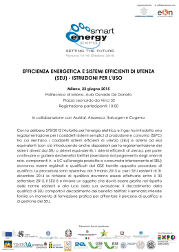 EFFICIENZA ENERGETICA E SISTEMI EFFICIENTI DI UTENZA