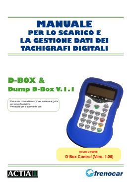 Procedura di installazione software Dump D-BOX