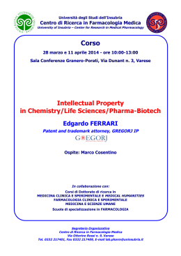 Intellectual Property in Chemistry/Life Sciences/Pharma