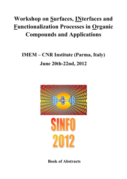 SINFO Book of Abstracts - Workshop on Surfaces, Interfaces and