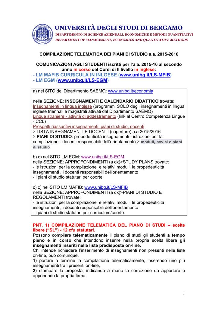 Calendario Esami Unibg Economia.Universita Degli Studi Di Bergamo