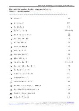 Raccolta di equazioni di primo grado con frazioni first for Problemi di primo grado a due incognite esercizi