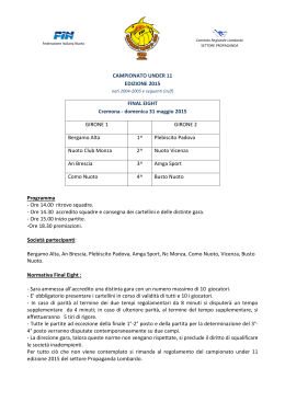CAMPIONATO UNDER 11 EDIZIONE 2015 FINAL EIGHT Cremona