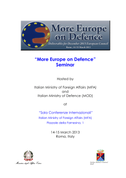 """More Europe on Defence"" Seminar"