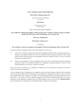 Final Terms e Issue Specific Summary (ISIN: XS1084191565)