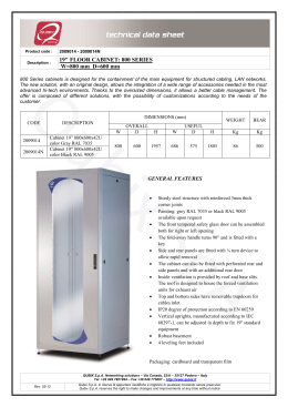 "19"" FLOOR CABINET: 800 SERIES W=800 mm D=600 mm"