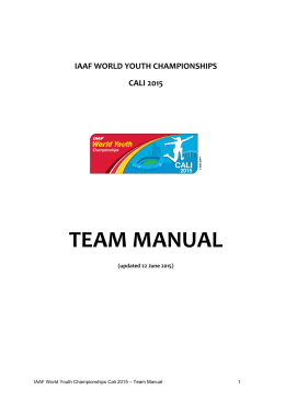iaaf world youth championships cali 2015 team manual