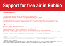 Support for free air in Gubbio