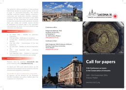 Call for papers - 11th Conference on Lasers in the Conservation of