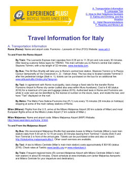 Travel Information for Italy