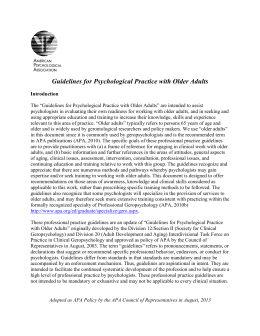 Guidelines for Psychological Practice with Older Adults