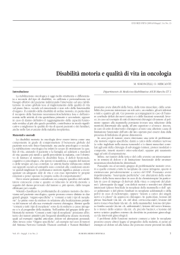 Disabilità motoria e qualità di vita in oncologia