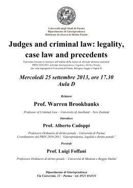 Judges and criminal law: legality, case law and precedents