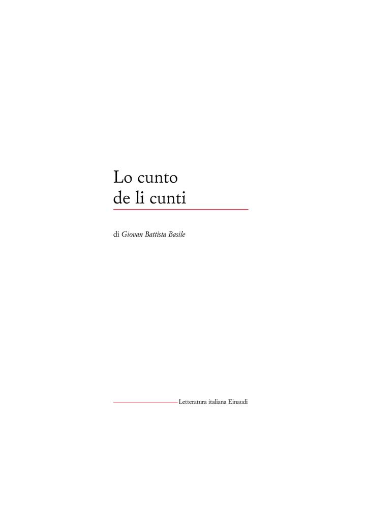 Lo cunto de li cunti - Letteratura Italiana