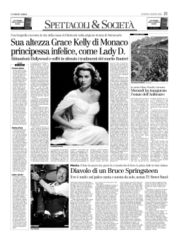 Sua altezza Grace Kelly di Monaco principessa infelice, come Lady D.