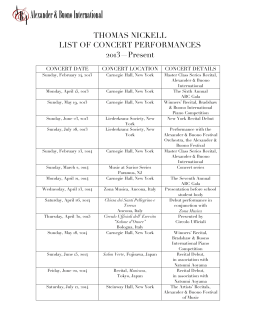 THOMAS NICKELL LIST OF CONCERT PERFORMANCES 2013