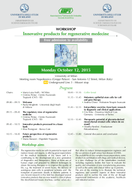 WORKSHOP Innovative products for regenerative medecine