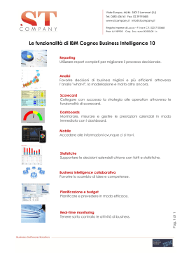 Le funzionalità di IBM Cognos Business Intelligence 10