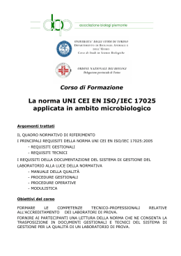 La norma UNI CEI EN ISO/IEC 17025 applicata in ambito