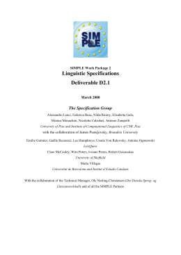 Linguistic Specifications Deliverable D2.1