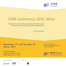 STAR Conference 2010, Milan