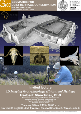 Invited lecture 3D Imaging for Archaeology, History, and Heritage