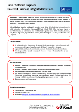 Junior Software Engineer Unicredit Business Integrated Solutions