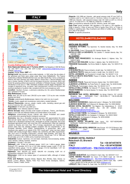 Italy ITALY - The International Hotel and Travel Directory