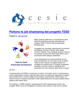 Partono le job shadowing del progetto TESD
