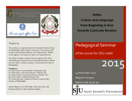 2015 CEU Seminar Program - Saint Joseph`s University