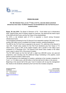 PRESS RELEASE Rome, 29 July 2014. The Board of Directors