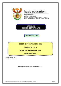NATIONAL SENIOR CERTIFICATE KEREITE YA 12