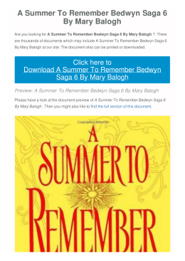 A Summer To Remember Bedwyn Saga 6 By Mary Balogh |
