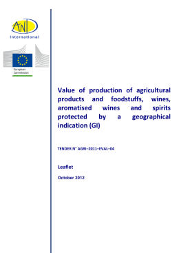 Value of production of agricultural products and foodstuffs, wines