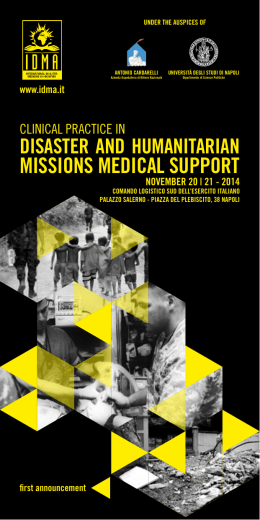 missions medical support - IDMA International Disaster Medicine