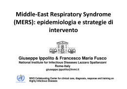 Middle-East Respiratory Syndrome (MERS): epidemiologia e
