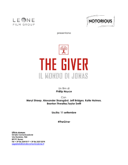 PRESSBOOK COMPLETO in ITALIANO di THE GIVER