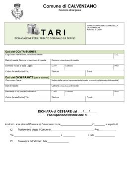 Autocertificazione viii fascia reddituale for Tari utenze non domestiche