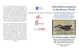 12-14 November, 2014 Diet and Environment in the Roman World