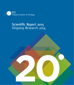 Scientific Report 2013 Ongoing Research 2014
